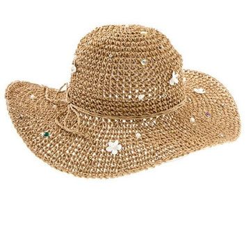 Womens Multi-Color Gem Studded Ivory Pearl Accent Wide Brim Beach Sun Hat - Brown