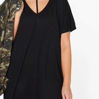 Plus Sara Strap Detail Dip Hem Tunic Dress | Boohoo