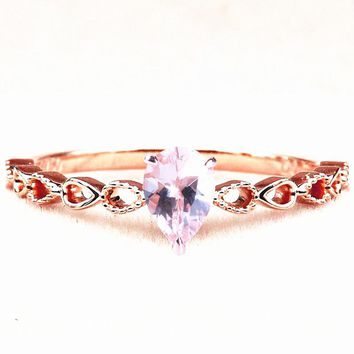 Solid 14k Rose Gold 5X7MM Pear Natural Morganite Women Engagement Wedding Ring Art Nouveau Trendy Fine Jewelry Pear Shape Shank