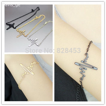 [$5 Minimum]Hot Fashion Gold/Silver/Black Jewelry Shock Heart Bracelet Chain VAV Gift For Girls  Freeshipping