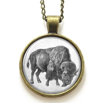 10pcs/lot Buffalo necklace , Wildlife ,Cowboy and Bison necklace  Glass Photo gift necklace