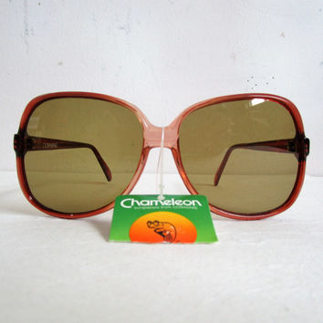 80s Corning Sunglasses Vintage 1980s NOS Amber Bug Eye Brown Large Killer Deadstock Eyewear