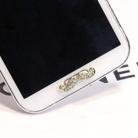 1PCS Bling moustache rhinestone Home Button Sticker for samsung galaxy s3 note2 N7100 s3 4 home button