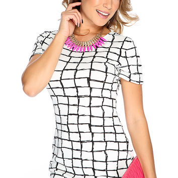 Sexy White Black Square Print Short Sleeve Dress