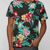 BDG Island Floral Slim-Fit Tee- Black
