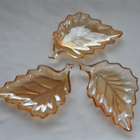 Vintage 1950's Marigold Carnival Glass Leaf Candy Dishes/ Set of Three Peach Luster Oak Leaf Iridescent Leaf Dishes/Entertainment Dishes