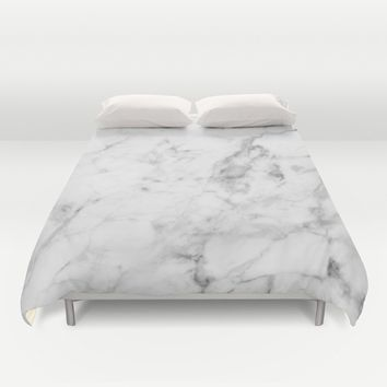 White Marble Duvet Cover by New Wave Studio