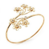 Gold Plated Diamante Floral Upper Arm Bracelet - up to 28cm upper arm