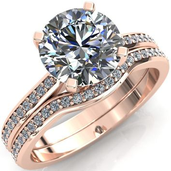 Cecily Round Moissanite Classic 4 V Prong High Diamond Shoulders 3/4 Eternity Solitaire Ring