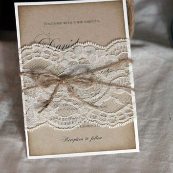 Rustic Wedding Invitation, Rustic Invitation, Lace Invitation, Rustic Lace Invitation, Wedding Invitation Rustic Invite, Distressed invite