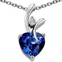 Heart Shape 8mm Created Sapphire Pendant in .925 Sterling Silver