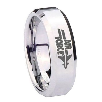8MM Mirror Bevel Edges Air Force Silver Tungsten Laser Engraved Ring