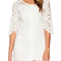 White Half Sleeve Lace Cut Out Mini Shift Dress