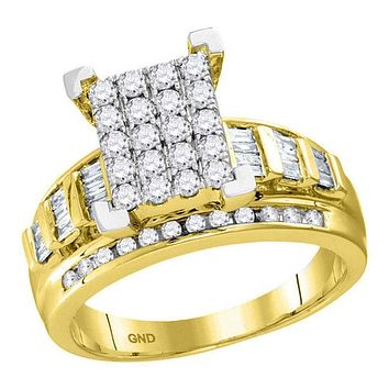 10kt Yellow Gold Women's Round Diamond Cindy's Dream Cluster Bridal Wedding Engagement Ring 1-2 Cttw - FREE Shipping (US/CAN) - Size 10