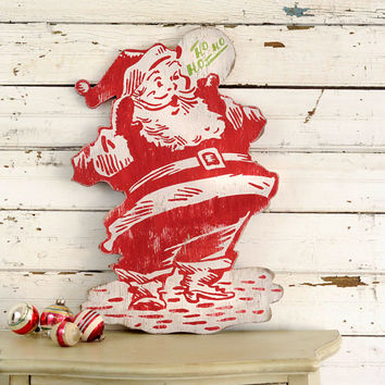 Retro Wooden Santa Decor Rustic Christmas Decor