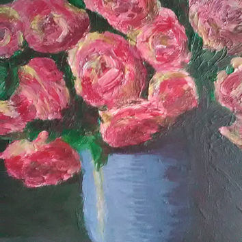 Pink rose painting, floral still life painting, original art acrylic painting, romantic impressionist painting, wall art,  gift for women