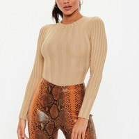 Missguided - Tall Camel Extreme Ribbed Crew Neck Bodysuit