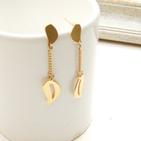 Wedding Jewelry, Brides Earrings, bridesmai Gift, Gold Long Earrings Leaf Earrings, Dangle Earrings, Greece