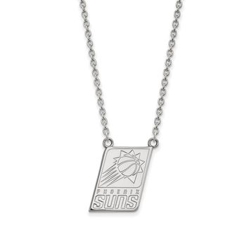 NBA Phoenix Suns Large Pendant Necklace in 14k White Gold - 18 Inch