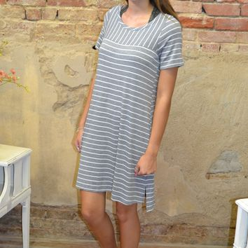 Sign On the Line Striped Dress: Grey