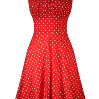 Women's Polka Dot Swing Dress - Red