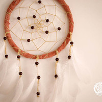 Dream Catcher - In The Woods - With White Feathers, Brown Frame and Yellow Web - Boho Home Decor, Nursery Mobile