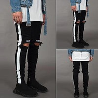 Men's Jeans Pants Men's Punk Casual Skinny White Side Jeans Hip Hop Broken Zipper Nightclub Pants Korean Street Costumes#7