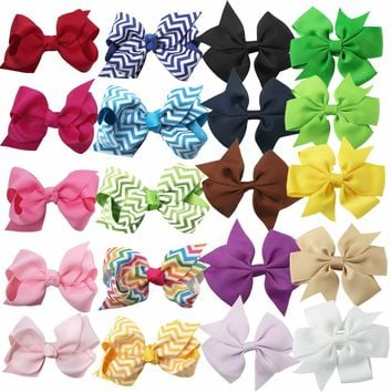 XIMA 20pcs/lot Mix Style 3''Grosgrain Ribbon Bows Boutique Kids Hair Bows WITH CLIP Girls Hair Accessories