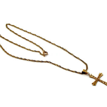 14K Gold Cross with 14K Gold Chain 18 Inch Estate Jewelry Makers Mark Vintage Jewelry Christian Jewelry Cross Pendant Chain Crucifix 3 Grams