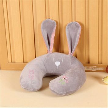 Creative Cartoon U-shaped Plush Pillow Cute Big-eared Rabbit Travel Pillow Animal Head Pillow Office Siesta Pillow 7 Style Doll