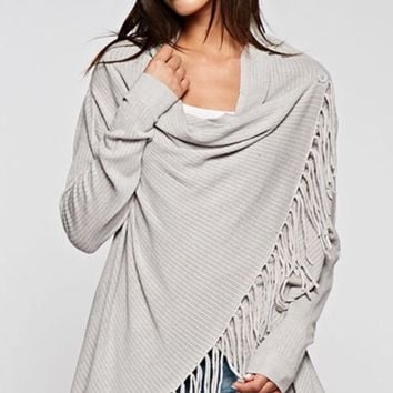 Carys Spring Grey Fringe Sweater