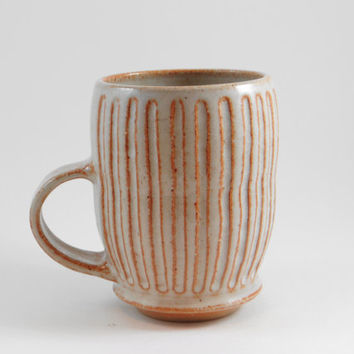 White Stoneware Mug, Tea mug with handle, Coffee Mug, Pottery Mug, Ceramic Mug, Tea Cup,Rustic Mug, Mother's day gift, Ready To Ship