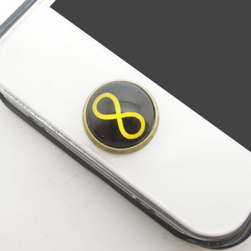 1PC Retro Glass Epoxy Transparent Times Gems Infinity Alloy Cell Phone Home Button Sticker Charm for iPhone 6, 4s,4g,5,5c Kids Gift