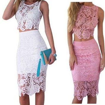 Fashion Women Summer Dress Lace 2 Piece Set Bodycon Sexy Dresses [9305836359]