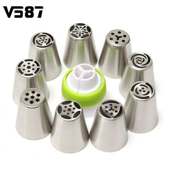 9Pcs Nozzles + Converter Russian Tulip Stainless Steel Cake Cupcake Decorating Icing Piping Rose Flower Cream Pastry Tips