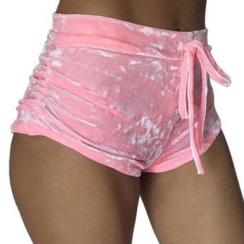 Women'S Loose Shorts Fashion Flannel Velvet Short Feminino Comfortable Pantalones Cortos Mujer Short Pants Women Sportwear Pink