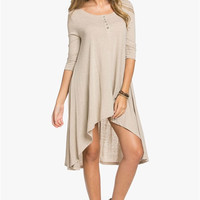 Tis The Season Henley Dress in Taupe