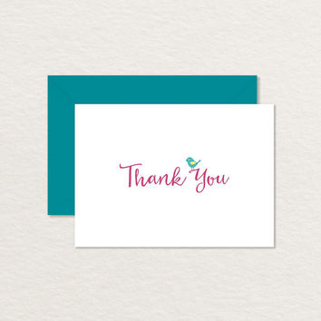 Little Bird 4 Bar Printable Thank You Card / Bird Stationery