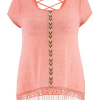 Plus Size - Cross Back Crochet Hem Tee - Pink