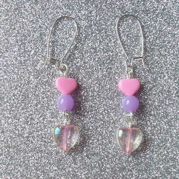 Fairy Kei Pastel and Neon Heart Earrings - 1 Pair in Blue or Pink