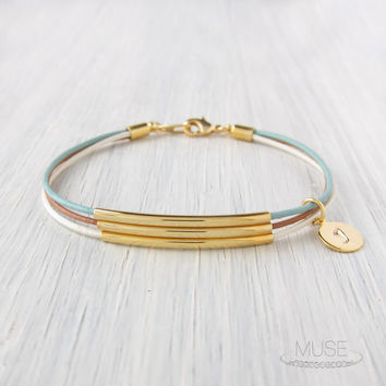 Palette - 3 Gold Bar Leather Bracelet - Custom Initial Bracelet, Multi Layer Bracelet, Charm Bracelet, Monogram Bracelet - Hamptons