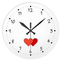 Valentine's Day Two hearts clock