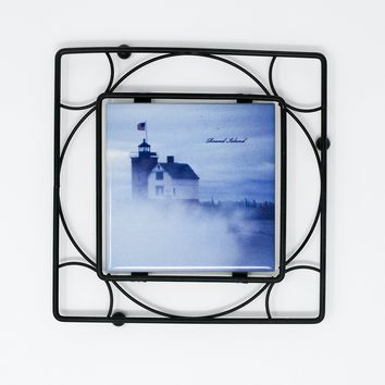 Iron Trivet with Tile, Round Island Lighthouse in Fog Design, Photograph, Home Décor, Black, blue