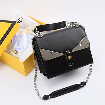 FENDI WOMEN'S KAN I LEATHER HANDBAG CHAIN SHOULDER BAG