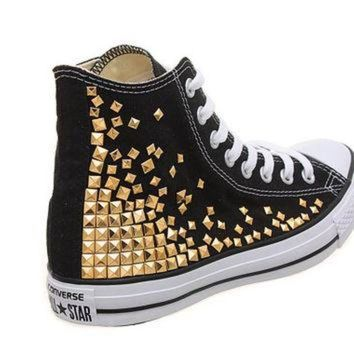DCCKHD9 Studded Converse, Converse High Top with Gold Pyramid studs by CUSTOMDUO on ETSY