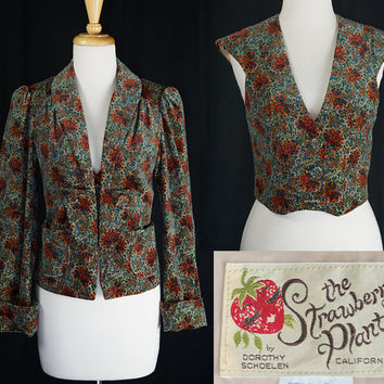 Vintage Paisley Velvet Blazer and Vest Bohemian Dream XS The Strawberry by Dorothy Schoelen