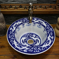 Blue White Porcelain Handpainted Dragons Ceramic Bathroom Sink