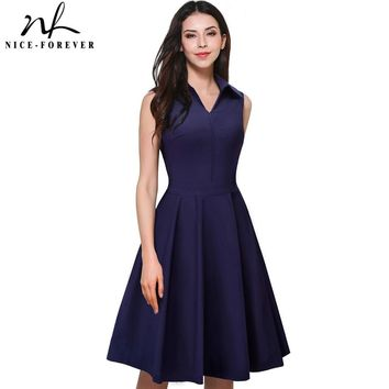Nice-forever 1950's Vintage Elegant Zipper Turn-down Collar Work Dress Women Sleeveless A-Line Pinup Flare Summer Dress A037