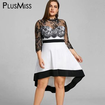 Plus Size Floral Lace Sheer High Low 3/4 Sleeve Mesh Dress