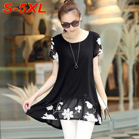 Women Summer Embroidered Flower Black and White Blouse S-5X